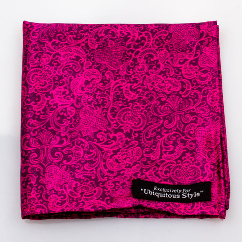 Pink and Navy Blue Paisley Pocket Square