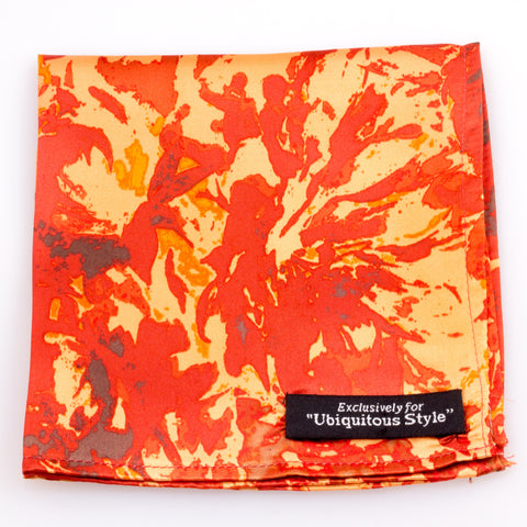 BROWN AND ORANGE SPLASH SILK POCKET SQUARE