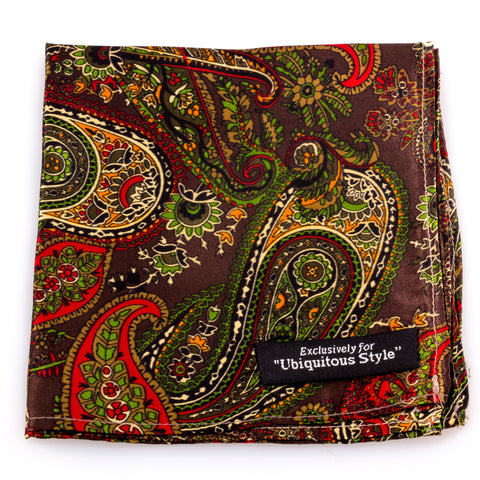 Brown Paisley Silk Pocket Square