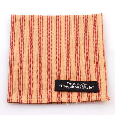 Crimson and Cream Stripe Pocket Square