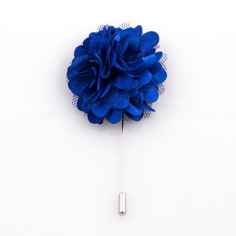 BLUE SATIN LAPEL FLOWER
