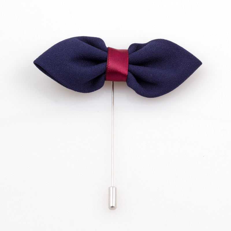 Navy Blue and Burgundy Bow Tie Lapel Flower