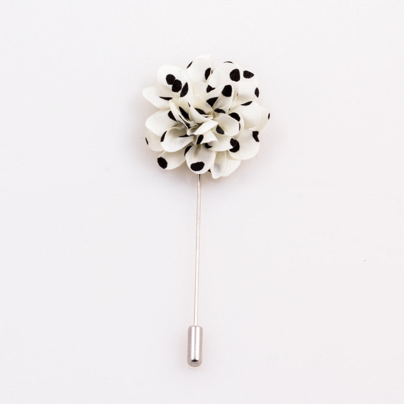 White Polka Dot Lapel Flower