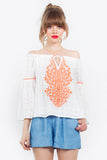 LINA EMBROIDERED BELL SLEEVE TOP