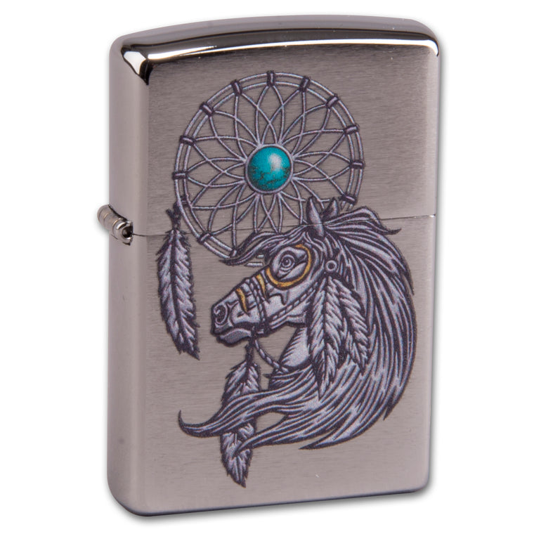 Zippo chrom gebürstet Native American Design