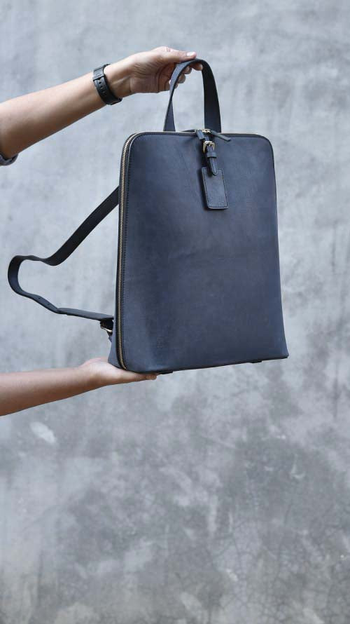 Navy Long Drew Backpack