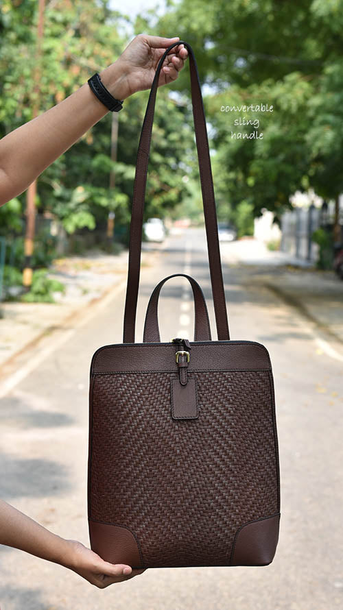 Woven Walnut Long Drew Backpack