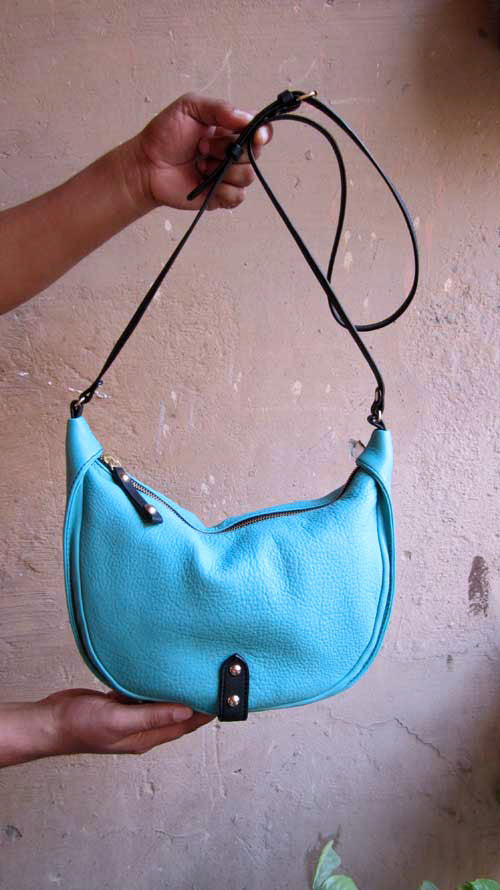 Aqua Little Caro, Chiaroscuro, India, Pure Leather, Handbag, Bag, Workshop Made, Leather, Bags, Handmade, Artisanal, Leather Work, Leather Workshop, Fashion, Women's Fashion, Women's Accessories, Accessories, Handcrafted, Made In India, Chiaroscuro Bags - 1
