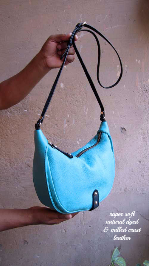 Aqua Little Caro, Chiaroscuro, India, Pure Leather, Handbag, Bag, Workshop Made, Leather, Bags, Handmade, Artisanal, Leather Work, Leather Workshop, Fashion, Women's Fashion, Women's Accessories, Accessories, Handcrafted, Made In India, Chiaroscuro Bags - 5