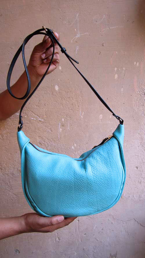 Aqua Little Caro, Chiaroscuro, India, Pure Leather, Handbag, Bag, Workshop Made, Leather, Bags, Handmade, Artisanal, Leather Work, Leather Workshop, Fashion, Women's Fashion, Women's Accessories, Accessories, Handcrafted, Made In India, Chiaroscuro Bags - 11