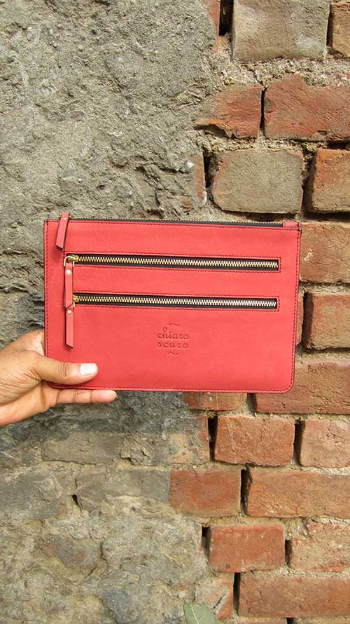 Coral Lizzie, Chiaroscuro, India, Pure Leather, Handbag, Bag, Workshop Made, Leather, Bags, Handmade, Artisanal, Leather Work, Leather Workshop, Fashion, Women's Fashion, Women's Accessories, Accessories, Handcrafted, Made In India, Chiaroscuro Bags - 4