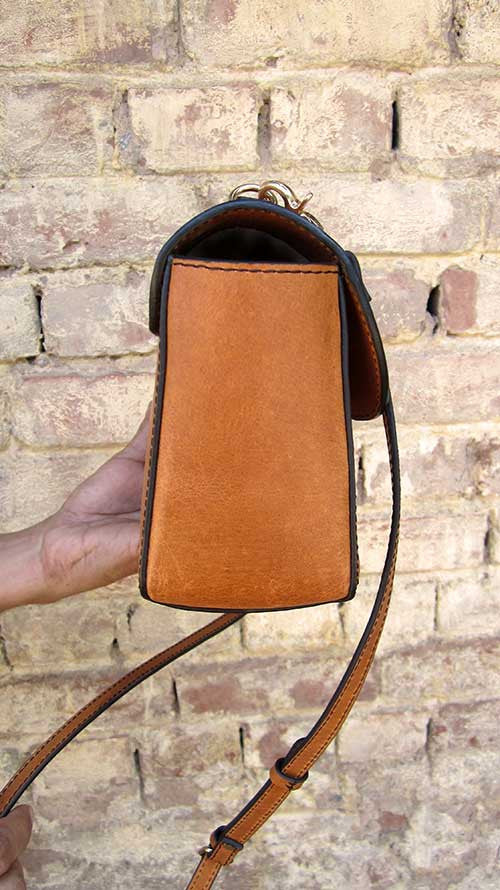 Pumpkin Gabriella, Chiaroscuro, India, Pure Leather, Handbag, Bag, Workshop Made, Leather, Bags, Handmade, Artisanal, Leather Work, Leather Workshop, Fashion, Women's Fashion, Women's Accessories, Accessories, Handcrafted, Made In India, Chiaroscuro Bags - 9