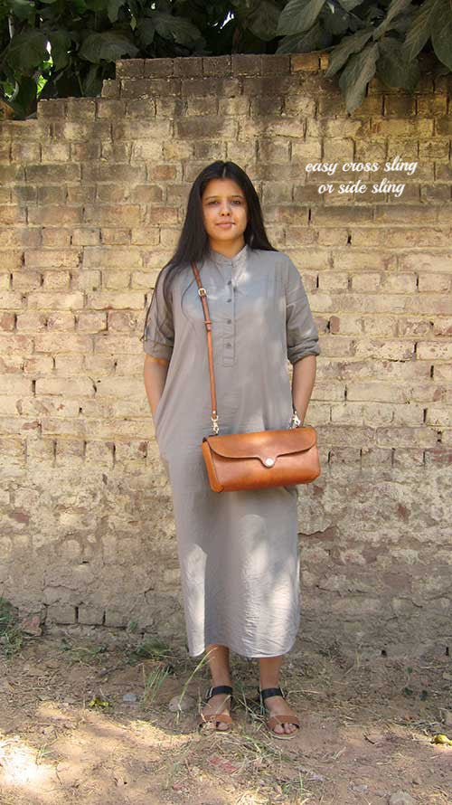Pumpkin Gabriella, Chiaroscuro, India, Pure Leather, Handbag, Bag, Workshop Made, Leather, Bags, Handmade, Artisanal, Leather Work, Leather Workshop, Fashion, Women's Fashion, Women's Accessories, Accessories, Handcrafted, Made In India, Chiaroscuro Bags - 3