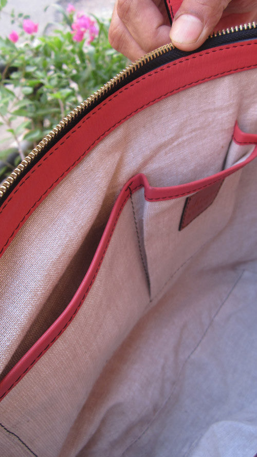 Raspberry Anabelle, Chiaroscuro, India, Pure Leather, Handbag, Bag, Workshop Made, Leather, Bags, Handmade, Artisanal, Leather Work, Leather Workshop, Fashion, Women's Fashion, Women's Accessories, Accessories, Handcrafted, Made In India, Chiaroscuro Bags - 11
