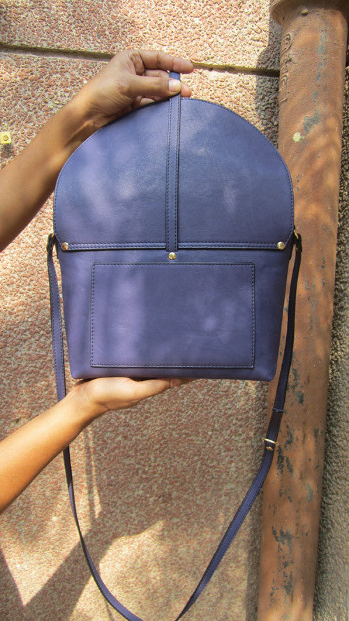 Blueberry Big Stella, Chiaroscuro, India, Pure Leather, Handbag, Bag, Workshop Made, Leather, Bags, Handmade, Artisanal, Leather Work, Leather Workshop, Fashion, Women's Fashion, Women's Accessories, Accessories, Handcrafted, Made In India, Chiaroscuro Bags - 7