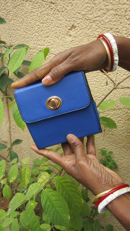 Cobalt Little Ellie, Chiaroscuro, India, Pure Leather, Handbag, Bag, Workshop Made, Leather, Bags, Handmade, Artisanal, Leather Work, Leather Workshop, Fashion, Women's Fashion, Women's Accessories, Accessories, Handcrafted, Made In India, Chiaroscuro Bags - 1