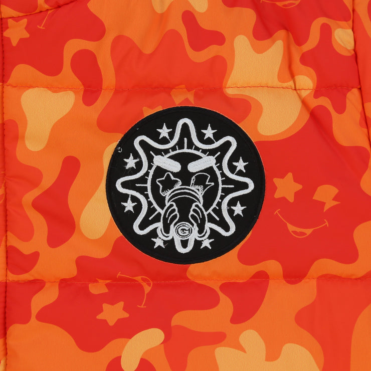 Glo Gang Camo Puffer Jacket (Orange)