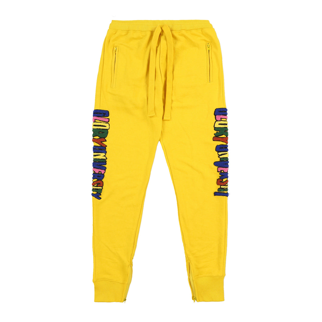 Glory University Chenille Primary Patch Sweatpants (Yellow)