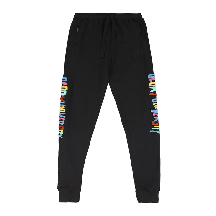 Glory University Chenille Patch Solid Sweatpants (Black)