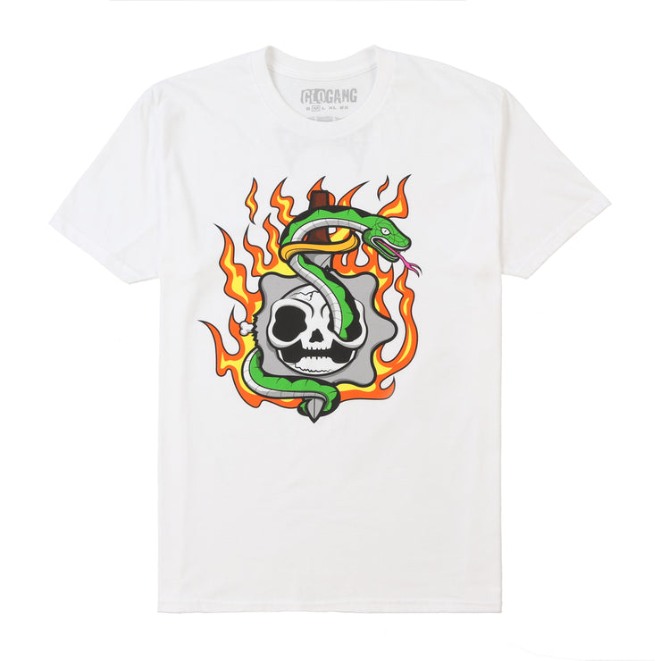 Flaming Skull Tee (White)
