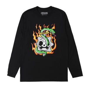 Flaming Skull Long Sleeve Tee (Black)
