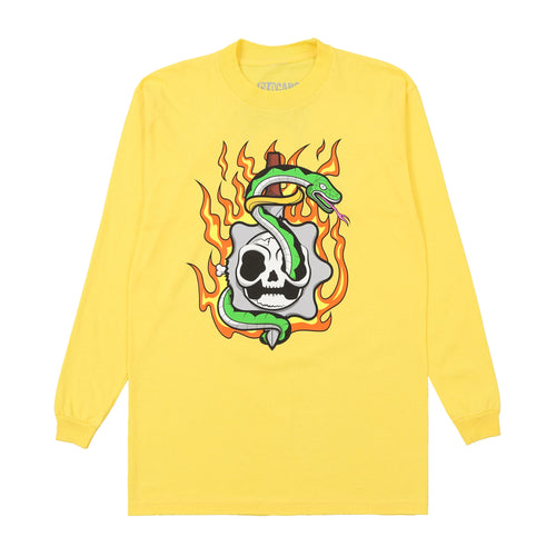 Flaming Skull Long Sleeve Tee (Yellow)