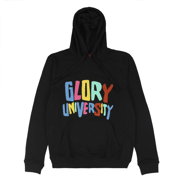 Glory University Chenille Patch Solid Hoodie (Black)