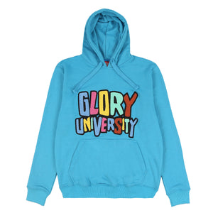 Glory University Chenille Patch Solid Hoodie (Aqua)