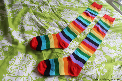 Rainbow Thigh High Socks
