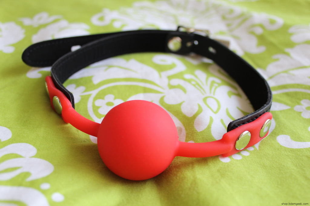 Silicone Ball Gag with Leather Strap, Red - BDSMGeek Shop - 2