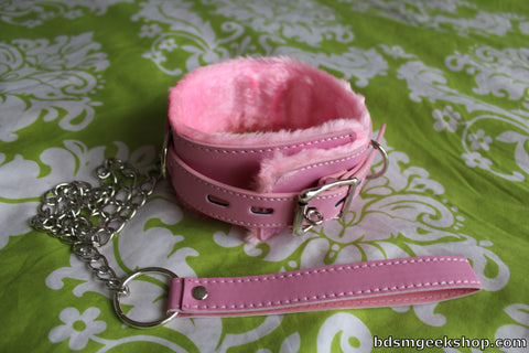 Leather Furry Collar and Leash
