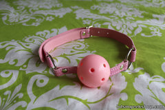 Leather/Plastic Breathable Gag, Pink - BDSMGeek Shop - 1