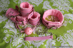 Basic Leather Bondage Bundle, Pink / 2 Pairs of Cuffs - BDSMGeek Shop - 2