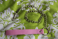 Chain Leash with Leather Handle, Pink - BDSMGeek Shop - 2