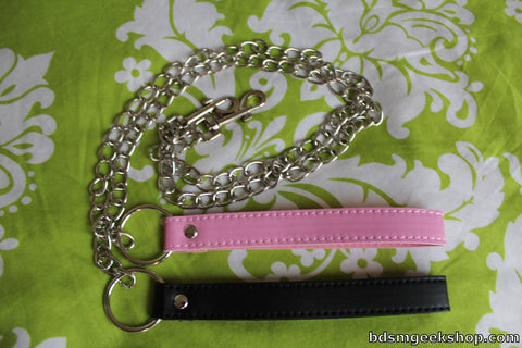 Chain Leash with Leather Handle