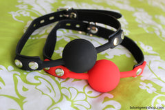 Silicone Ball Gag with Leather Strap,  - BDSMGeek Shop - 1
