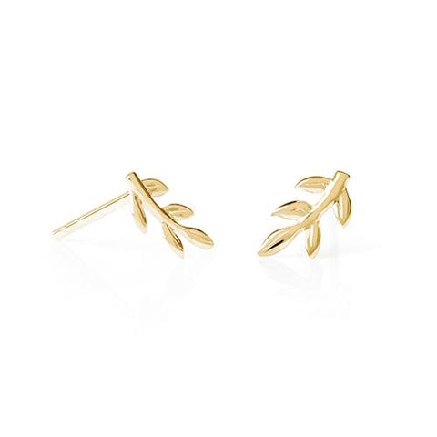 Daisy - Natures Way Gold Vine Leaf Stud Earrings E2017 X