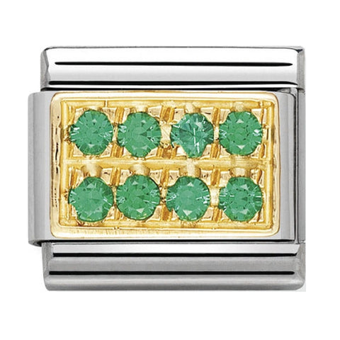 Nomination 18ct Gold Green Pavé Charm 030314 03