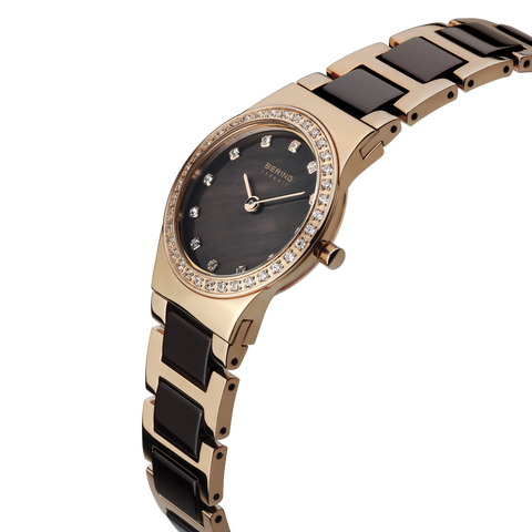 Bering Ladies Polished Rose Gold & Brown Ceramic Watch 32426-765