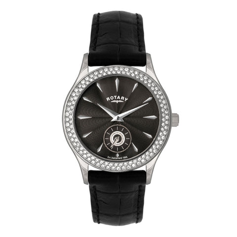 Rotary Ladies Stainless Steel Black Leather Strap Watch LS02908/04