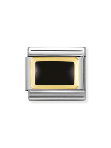 Nomination 18ct Gold & Enamel Black Square Charm 030206 14