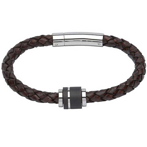 Unique & Co - Stainless Steel Carbon and Brown Leather Mens Bracelet B276ADB