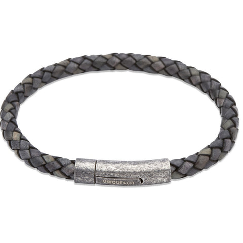 Unique & Co - Stainless Steel and Black Aged Leather Mens Bracelet B322ABL