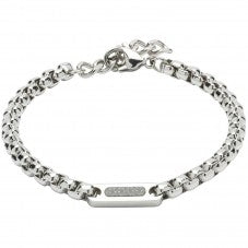 Unique & Co - Stainless Steel Chain Link Logo Mens Bracelet LAB-124BL