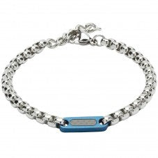 Unique & Co - Stainless Steel Chain Link Blue Logo Mens Bracelet LAB-124BLUE