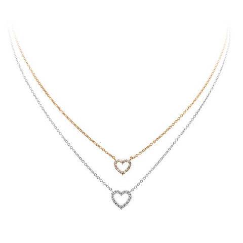 Diamonfire Two Tone Double Heart Pendant 63/0915/1/782