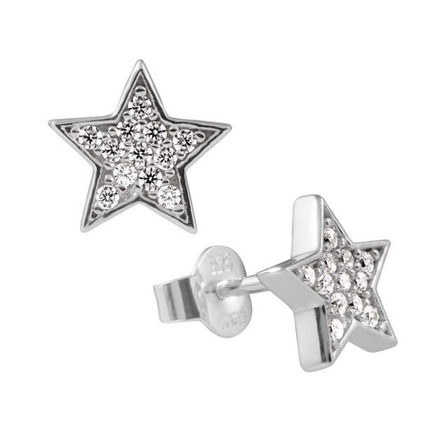 Diamonfire Sterling Silver & CZ Solitaire Star Stud Earrings 62/1753/1/082