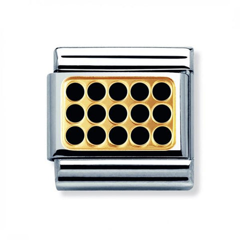 Nomination 18ct Gold & Enamel Black Grill Charm 030280 04
