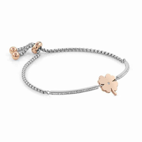Nomination - Milleluci Four Leaf Clover Rose Gold Toggle Pave Half Bangle Bracelet 028004 06