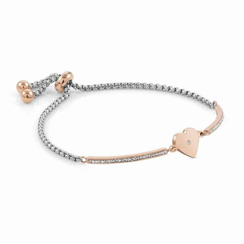 Nomination - Milleluci Heart Rose Gold Toggle Pave Half Bangle Bracelet 028005 22